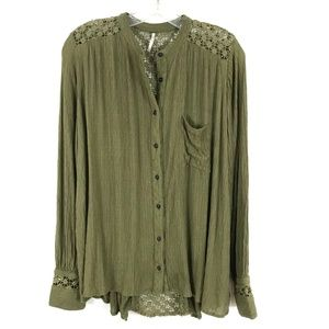FREE PEOPLE olive green The Best Blouse lace trim